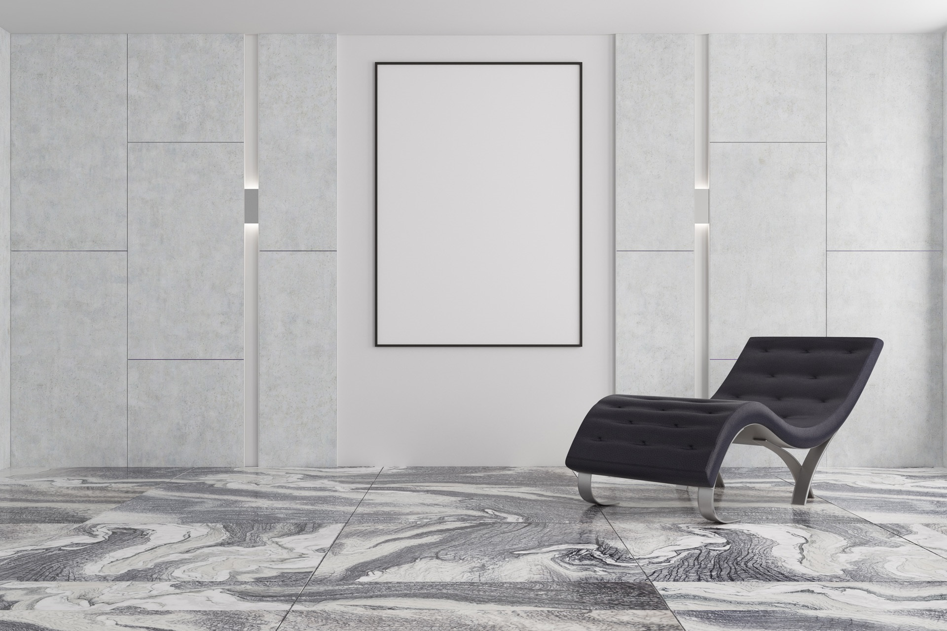Minimalistic Living Room Interior With A Gray Marble Floor, Gray
